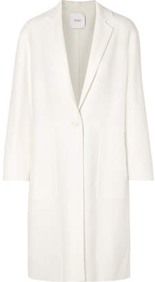 Agnona Silk Satin-trimmed Wool-blend Coat - White