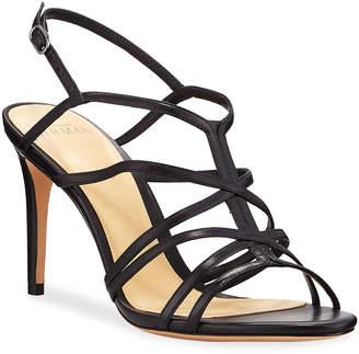 Alexandre Birman Emma Caged Leather Mid-Heel Sandals