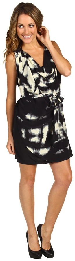 Robbi & Nikki Ink Print Draped Overlay Dress Women's Dress