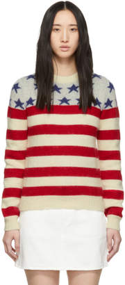 Saint Laurent White Jacquard Flag Sweater