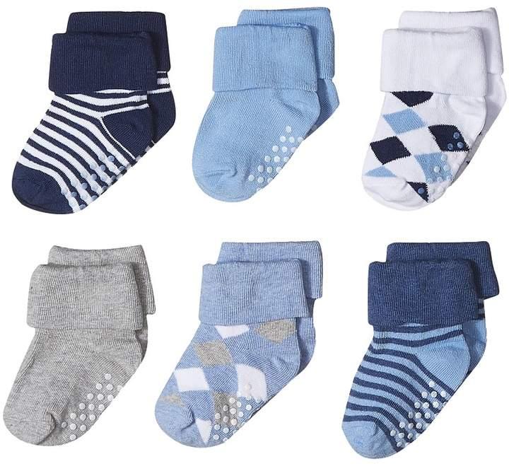 Non-Skid Argyle/Stripe Turn Cuff 6-Pack Boys Shoes