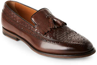 Doucal's Dark Brown Wingtip Penny Loafers