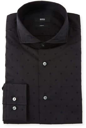 BOSS Men's Slim Fit Micro-Flower Dress Shirt