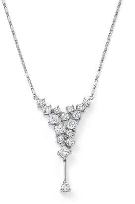 Bloomingdale's Diamond Round and Princess Cut Cascade Necklace in 14K White Gold, 1.0 ct. t.w. - 100% Exclusive