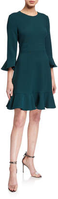 Eliza J Bell-Sleeve Fit And Flare Dress