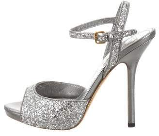 Miu Miu Glitter Ankle Strap Sandals
