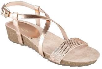 Lotus Rose Diamante 'Cuba' Mid Wedge Heel Peep Toe Sandals