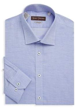 Hickey Freeman Non-Iron Textured Windowpane Cotton Dress Shirt