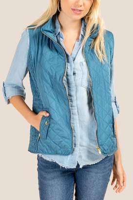 francesca's Vanessa Quilted Wubby Lined Puffer Vest - Dark Teal