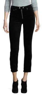 Rag & Bone Dojo Exposed Zip Velvet Crop Pants
