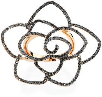 Sydney Evan 14k Rose Gold Diamond Flower Ring, Size 7