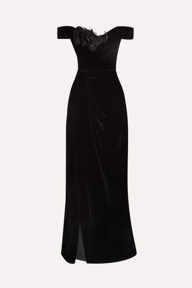 Off-the-shoulder Appliquéd Velvet Gown - Black