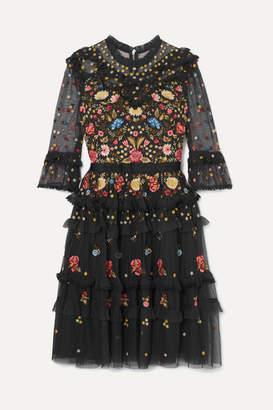 Needle & Thread Pandora Ruffled Embroidered Tulle Dress - Black
