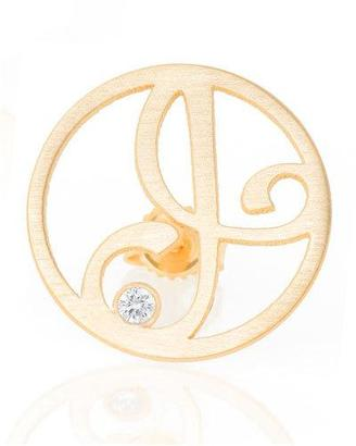 K Kane Right Singular Mini One-Initial Diamond Stud Earring, Yellow Gold