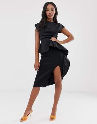 Asos Design DESIGN peplum pencil midi dress with tuck detail