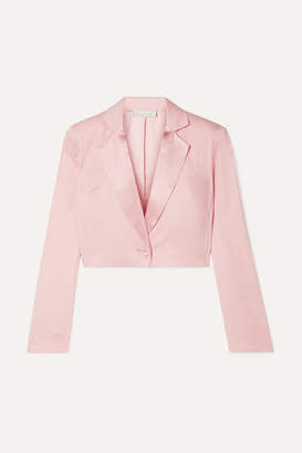 Fleur Du Mal Cropped Satin-trimmed Silk And Wool-blend Piqué Blazer - Baby pink