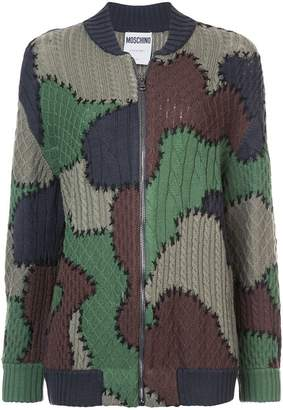 Moschino patchwork knitted bomber jacket