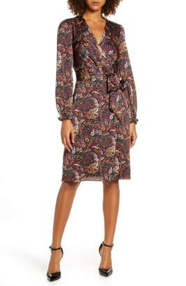 Chelsea28 Paisley Print Long Sleeve Faux Wrap Dress