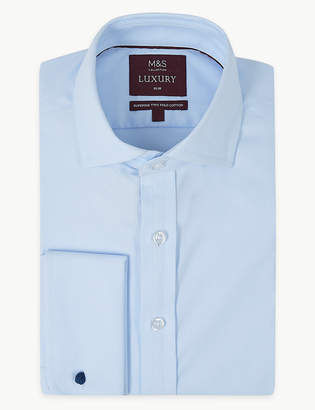 M&S Collection LuxuryMarks and Spencer Cotton Rich Slim Fit Shirt