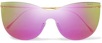 Illesteva - Boca Mask Cat-eye Gold-tone Mirrored Sunglasses - Purple $190 thestylecure.com