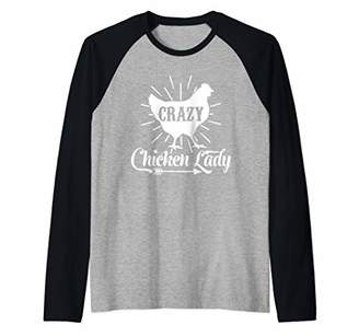 Crazy Chicken Lady Southern Western Farm Woman Gift Raglan Baseball Tee