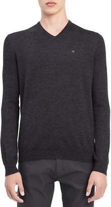 Calvin Klein Men's Merino Menswear Moon and Tipped V-Neck 12gg Sweater, Black Jack Heather, XL