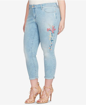 Jessica Simpson Trendy Plus Size Forever Embroidered Cuffed Skinny Ankle Jeans