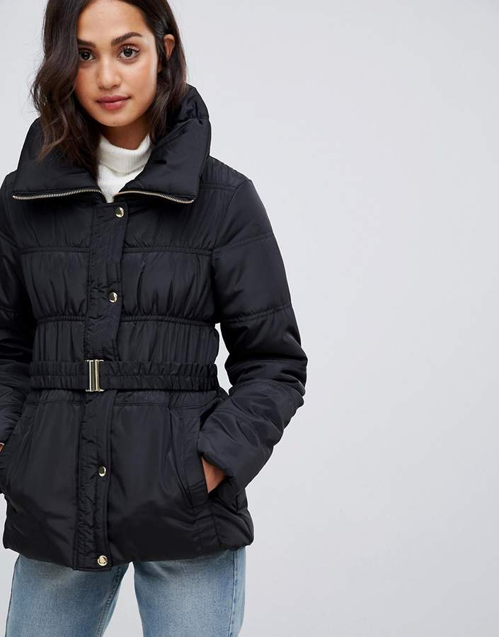 short ruched padded coat