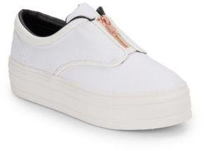 Posh Zip-Front Platform Sneakers $134 thestylecure.com