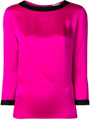 Chanel Pre-Owned 1990's contrast trim three-quarters blouse