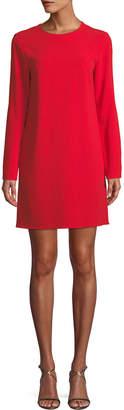 Tibi Long-Sleeve Crepe Crewneck Mini Cocktail Dress