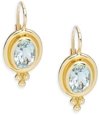 Temple St. Clair Women's Aquamarine Oval Earrings