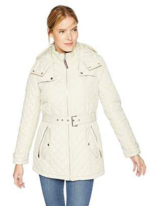 Tommy Hilfiger Women's Zip Front Belted Diamond Quilt Hooded Jacket
