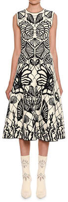 Alexander McQueen Sleeveless Shell-Jacquard Midi Dress