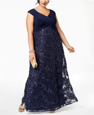 Alex Evenings Plus Size Embellished Applique Gown
