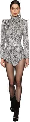 Leopard Silk Jacquard Mini Dress
