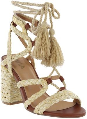 Mia Raffia Lace-Up Block Heel Sandals - Renita