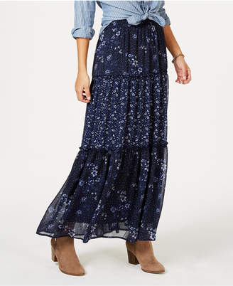 Style&Co. Style & Co Tiered Printed Maxi Skirt