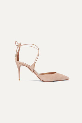 Aquazzura Very Matilde 85 Suede Pumps - Antique rose