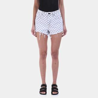 Alexander Wang Bite Cut-Off Denim Short in Checkerboard Print