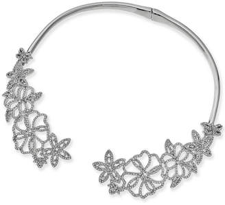 """INC International Concepts Woman I.N.C. Woman Silver-Tone Pavé Flower 5-4/5"""" Collar Necklace, Created for Macy's"""