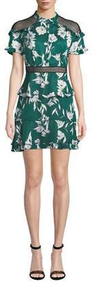 Bardot Sorrento Floral Ruffle Short Dress with Mesh Inserts