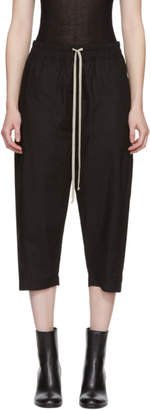 Rick Owens Black Poplin Drawstring Cropped Lounge Pants