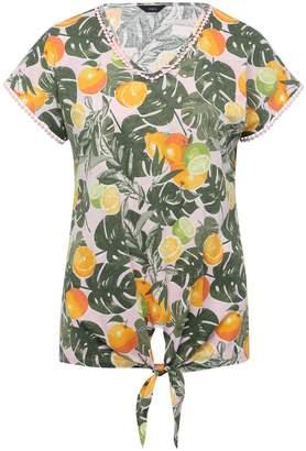 M&Co Palm print tie front top