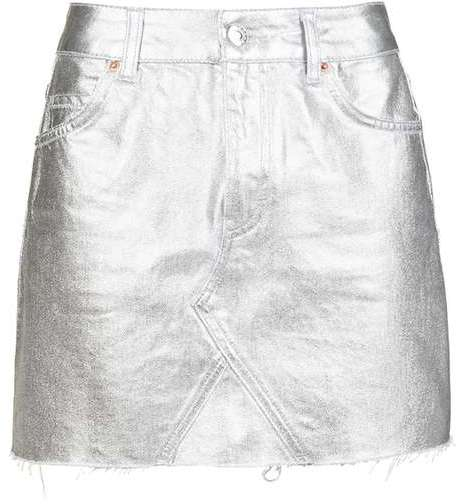 Topshop Topshop Moto silver coated mini skirt