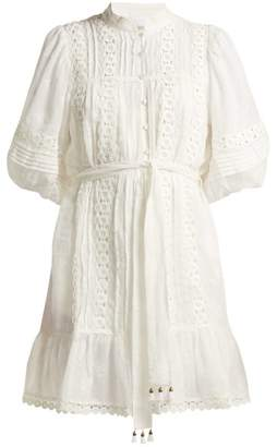 Zimmermann Castile Flower Lace Trimmed Voile Dress - Womens - Ivory