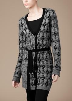 Long Argyle Knit Cardigan