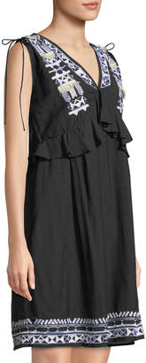 Catherine Malandrino V-Neck Drawstring-Shoulders Sleeveless Embroidered Shift Cotton Dress