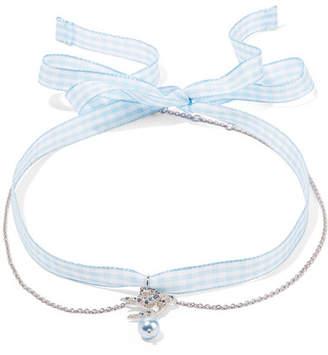 Miu Miu Gingham Cotton, Silver-tone, Crystal And Faux Pearl Choker