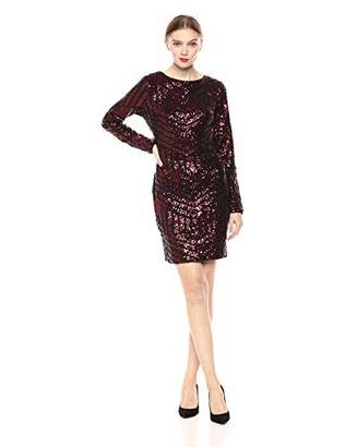 Dress the Population Women's Lola Long Sleeve Sequin Dress